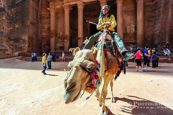 Petra is Jordan's most visited tourist attraction. Al Khazneh, The Treasury, is the most famous building. Dromedary transport. (Photo Bjorn Grotting)