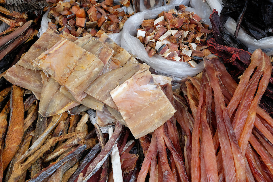 YANGON, MYANMAR - CIRCA DECEMBER 2013: Variety of dried fish in the street market of Yangon. (Daniel Korzeniewski)
