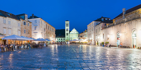 Panoramic Photo of St Stephens Cathedral (Katedrala Svetog Stjepana) in St Stephens Square, Hvar Town, Hvar Island, Croatia, Europe.
