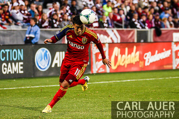 April 6th, 2013 - Real Salt Lake midfielder Javier Morales (11) heads the ball as he makes a run down the pitch in the second half of the MLS match between Real Salt Lake and the Colorado Rapids at Dick's Sporting Goods Park in Commerce City, CO (Carl Auer/Newsport)