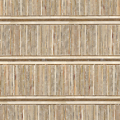 "Name: Tatami Mat Style: Tatami Product Number: NRFTATMAT Description: 24""x 24"" Tatami Mat in Breccia Oniciata, Travertine Noce, Travertine White (p) (New Ravenna Mosaics)"