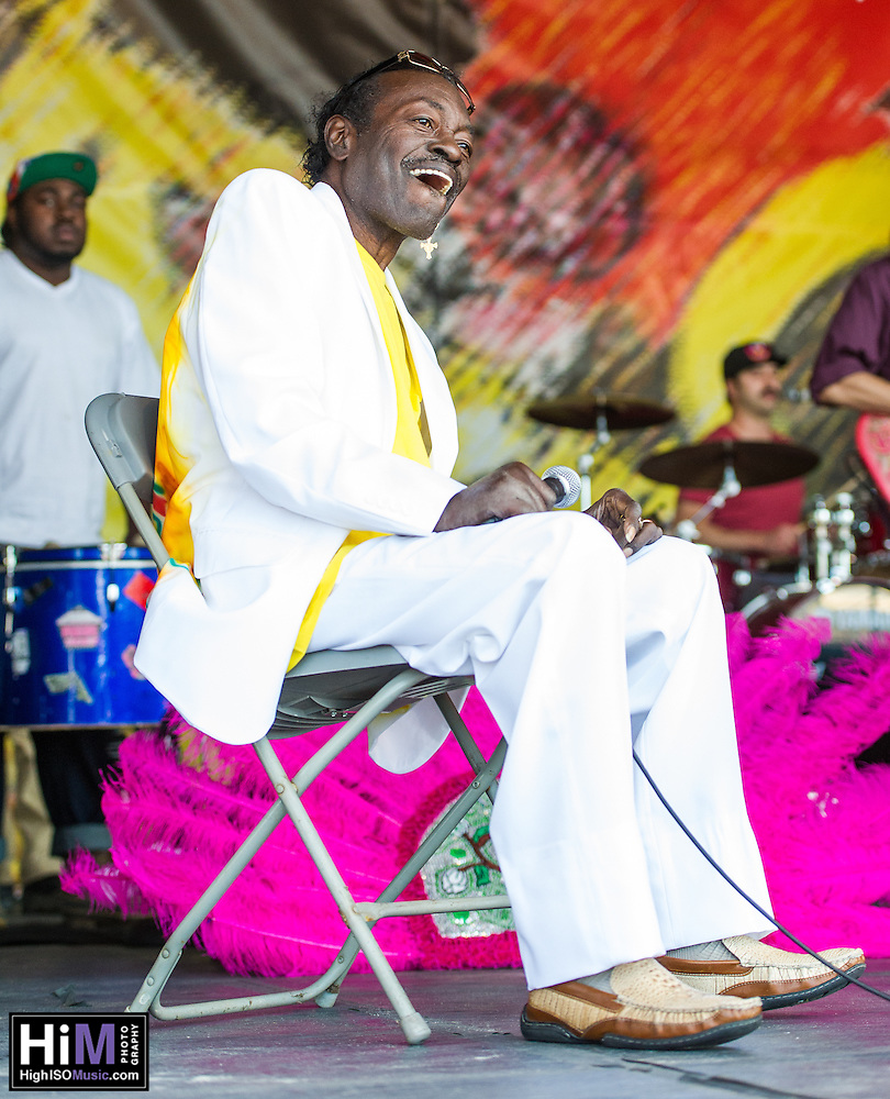 Big Chief Bo Dollis and members of his family perform at the 2013 Jazz and Heritage Festival in New Orleans, LA on May 5, 2013.  © HIGH ISO Music, LLC / Retna, Ltd. (HIGH ISO Music, LLC)