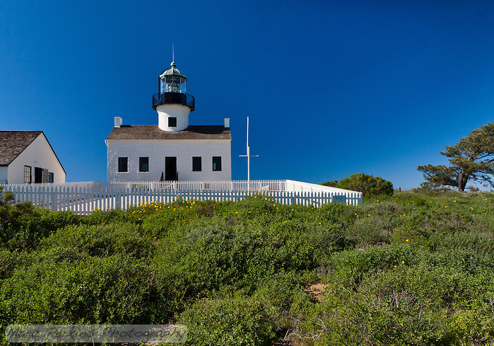 A wide-angle view of Old Point Loma Light as seen from the east on a crystal clear blue sky winter's day.  The foreground bushes mostly block the concrete water catchment basin.  The lighthouse itself is clearly visible, as is the assistant keeper's house (to the left).  Note: Please contact me if you're interested in purchasing this image for use printed or displayed large, as I should give you some background on the image (the sky has been burned to reduce uneven polarization, and it should be test-printed before final images are made). (Marc C. Perkins)