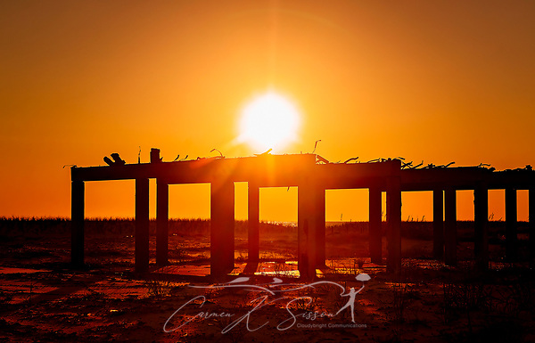The sun sets on a beachfront condominium destroyed by Hurricane Michael in 2018, Sept. 27, 2019, in Mexico Beach, Florida. Nearly half the town's 1,900 homes were damaged or destroyed by the category five hurricane. Many homeowners remain in limbo as they wait for money from their insurance companies or the Federal Emergency Management Agency to pay for repairs or demolition. (Photo by Carmen K. Sisson/Cloudybright) (Carmen K. Sisson/Cloudybright)