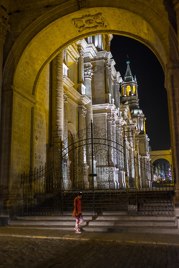 AREQUIPA, PERU - CIRCA APRIL 2014: View of entrance to the Cathedral of Arequipa at night. Arequipa is the Second city of Perú by population with 861,145 inhabitants and is the second most industrialized and commercial city of Peru. (Daniel Korzeniewski)
