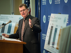 Houston ISD superintendent Dr. Terry Grier comments on effective teacher retention during a news conference on October 30. (Houston ISD/Dave Einsel)