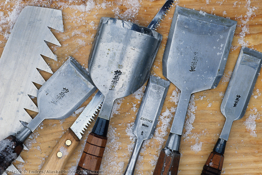 Ice sculpting chisels: Ice sculpting chisels used during the World Ice Art Championships held each march in Fairbanks, Alaska, (Patrick J. Endres / AlaskaPhotoGraphics.com)