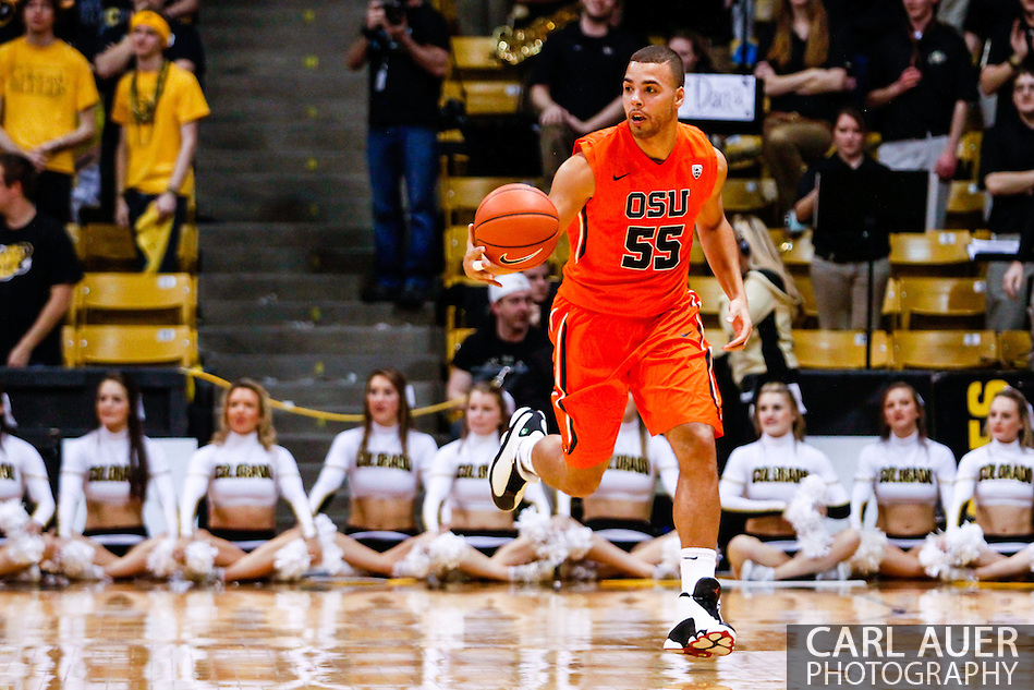 January 2nd, 2014:  Oregon State Beavers senior guard Roberto Nelson (55) brings the ball up the court in the first half of the NCAA Basketball game between the Oregon State Beavers and the University of Colorado Buffaloes at the Coors Events Center in Boulder, Colorado (Carl Auer/ZUMAPRESS.com)