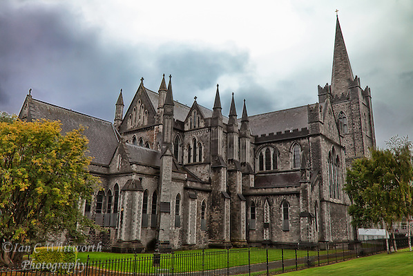 A view from the gardens of St. Patrick's Cathedral in the rain in Dublin. (Ian C Whitworth)