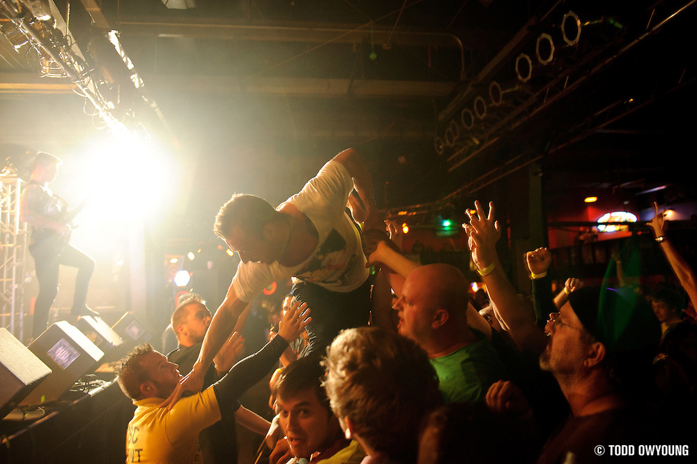 The Dillinger Escape Plan performing at Pop's in Sauget, Illinois on November 13, 2011. © Todd Owyoung. (Todd Owyoung)