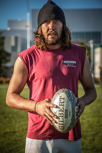 "Rugby player Danno Lewis on the Delaney Park Strip in Anchorage.  ""I'm from Colorado and I've been in Alaska for one month.  I'm working for an asphalt company and so far, I love it here.""  stickdug1115@yahoo.com (© Clark James Mishler)"
