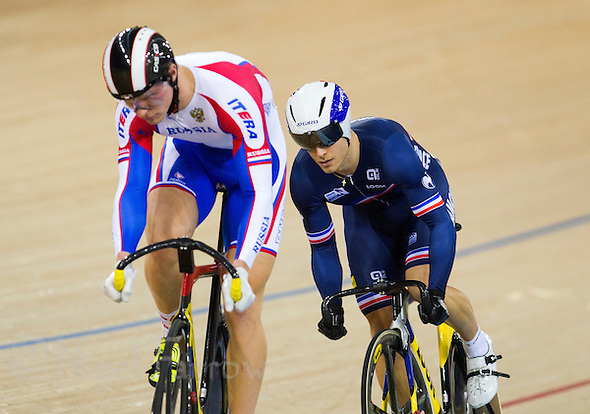 07 DEC 2014 - STRATFORD, LONDON, GBR - Michael d'Almeida (FRA) from France looks for an opportunity to   attack during his 1/16 final against Nikita Shurshin (RUS) (left) from Russia in the men's Individual Sprint at the 2014 UCI Track Cycling World Cup in the Lee Valley Velo Park in Stratford, London, Great Britain (PHOTO COPYRIGHT © 2014 NIGEL FARROW, ALL RIGHTS RESERVED) (NIGEL FARROW/COPYRIGHT © 2014 NIGEL FARROW : www.nigelfarrow.com)