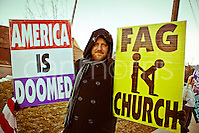 Steve Drain, member of the Westboro Baptist Church protesting in front of Congregation Kol Ami in Salt Lake City. A former documentary filmaker, he is not related to the Phelps family. He is in charge of WBC multimedia projects.  The Westboro Baptist Church has become notorious in the United States for picketing the funerals of fallen US soldiers.  Their claim is that god is punishing America for allowing gay rights. (Dan Morris)