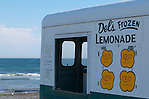 USA, Newport, RI - Del's Frozen Lemonade truck in front of second beach. (Alexander Nesbitt)