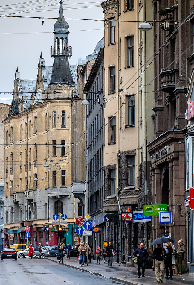 RIGA, LATVIA - CIRCA MAY 2014: View of Marijas iela street in the center of Riga. (Daniel Korzeniewski)