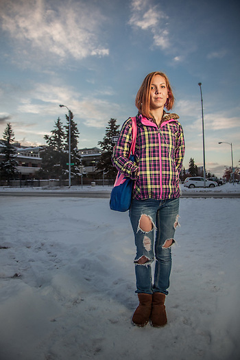 "Pre-school teacher and cancer survivor Cherie Kasgnoc on the Delaney Park Strip, Anchorage.  ""Cancer has taught me to take one day at a time and to not take life for granted…it can be taken in a heart beat.""  ckasgnoc@gmail.com (© Clark James Mishler)"