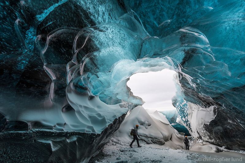 Brad Rogers and Andrew Hancock exploring an Ice Cave in Vatnajökull glacier, Southeast Iceland. (Christopher Lund/©2015 Christopher Lund)