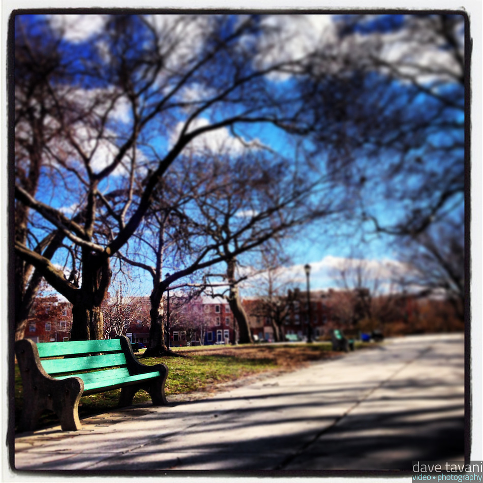 A lonely bench sits in the sun in Jefferson Square Park in South Philadelphia, January 31, 2013. (Dave Tavani)