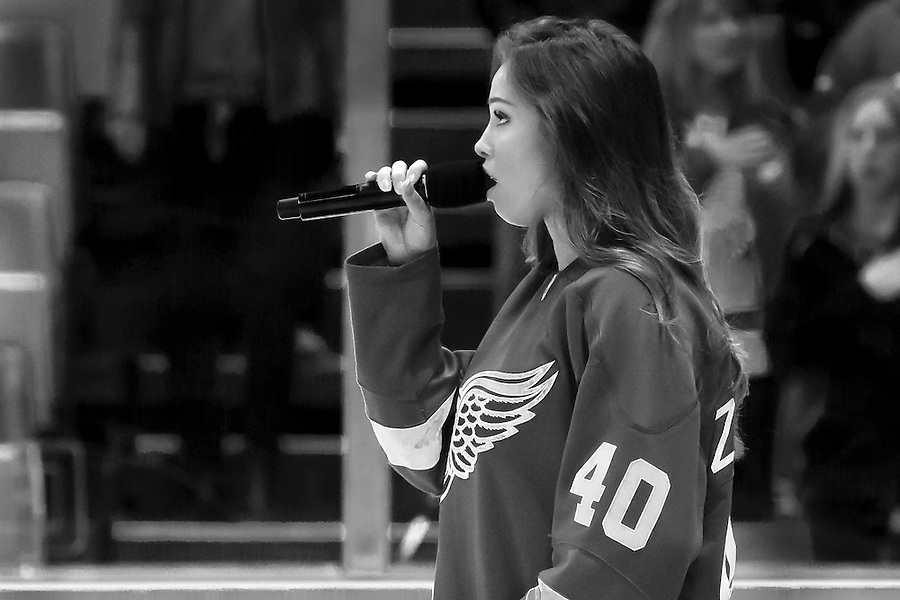 Oct 30, 2015; Detroit, MI, USA; National anthem is performed before the game between Detroit and Ottawa at Joe Louis Arena. Mandatory Credit: Rick Osentoski-USA TODAY Sports (Rick Osentoski/Rick Osentoski-USA TODAY Sports)