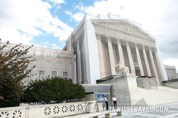 While the US Supreme Court building is undergoing renovations, it is covered with a light scrim over the scaffolding that shows an image of the building as it was before the repairs and without the scaffolding. (David Coleman / havecamerawilltravel.com)