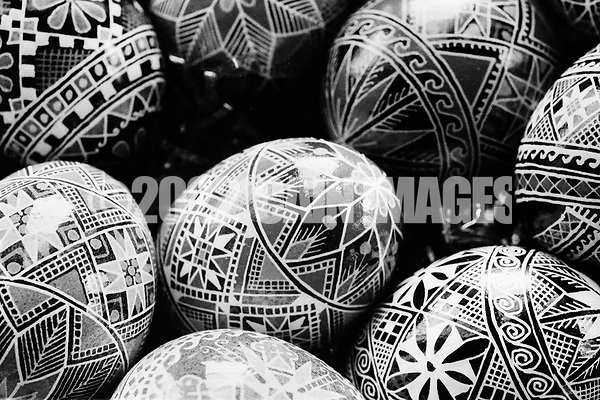 A batch of finished Ukrainian Easter eggs created by Sister Josaphat Slobodian are shown Tuesday, May 01, 1990 at Sisters of Saint Basil The Great motherhouse in Glenside, Pennsylvania. (Photo by William Thomas Cain/Cain Images) (William Thomas Cain/Cain Images)