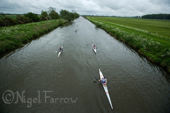 25 MAY 2014 - BRIGG, GBR - Competitors paddle along the River Ancholme during the World Quadrathlon Federation 2014 Middle Distance World Championships at the Brigg Bomber in Brigg, Lincolnshire, Great Britain (PHOTO COPYRIGHT © 2014 NIGEL FARROW, ALL RIGHTS RESERVED) (NIGEL FARROW/COPYRIGHT © 2014 NIGEL FARROW : www.nigelfarrow.com)
