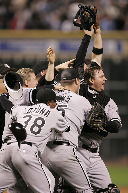 HOUSTON - OCTOBER 26:  The Chicago White Sox celebrate winning Game 4 of the 2005 World Series against the Houston Astros at Minute Maid Park on October 26, 2005 in Chicago, Illinois.  The White Sox defeated the Astros 1-0 to sweep the Astros and give the White Sox their first World Championship title in 88 years. (Ron Vesely)