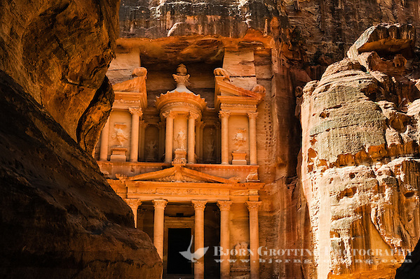 Petra is Jordan's most visited tourist attraction. al-Siq is the main entrance to the ancient city. Al Khazneh, The Treasury, seen from the end of the gorge. (Photo Bjorn Grotting)