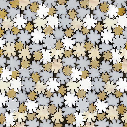 Erin Adams Flowers shown in Opal, Moonstone, Agate and Aalto for New Ravenna Mosaics. (New Ravenna Mosaics 2012)
