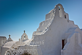 White church originally built in 1425 with additions in the 16th & 17th centuries at Mykonos in Greece (Ian C Whitworth)