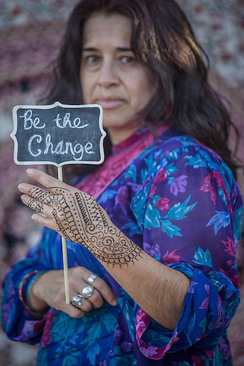 """Social workder Adriana Martinez Chavez at the """"Freedom Matters"""" fund raiser in Calistoga.  """"Women are powerful and deserve respect."""" (Clark James Mishler)"""