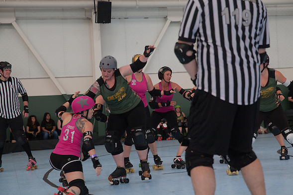 The San Francisco ShEvil Dead and the Berkeley Resistance  opened the Bay Area Derby Girls 2015 season at the Craneway Pavilion in Richmond, CA on March 14, 2015. Berkeley won 259-122. (bryan farley)