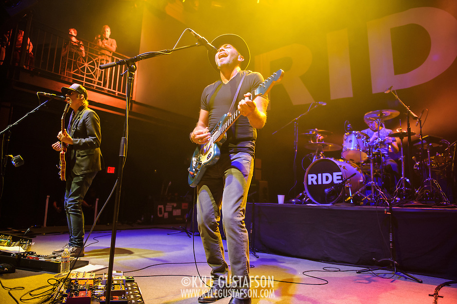 Andy Bell, Mark Gardener and Loz Colbert of Ride perform at the 9:30 Club in Washington, D.C. on the opening night of their fall U.S. tour. (Photo by Kyle Gustafson)