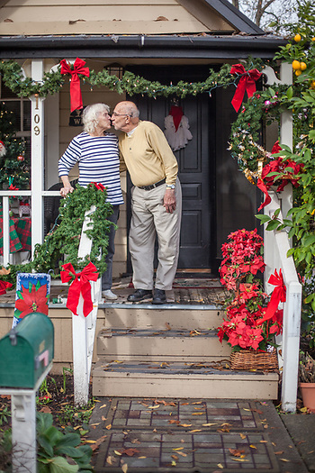 """The other day a couple walked into our house thinking it was a shop of some sort...we like to decorate at Christmas.""  -Orvil and Donna Riedberger on the porch of their home in Calistoga, CA (© Clark James Mishler)"