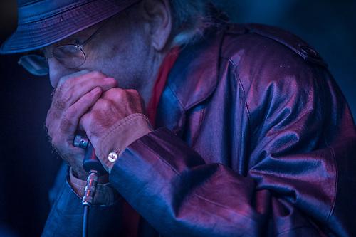 Bluesman,Gary Sloan performs at the Alaska State Fair, in Palmer, Alaska (Clark James Mishler)