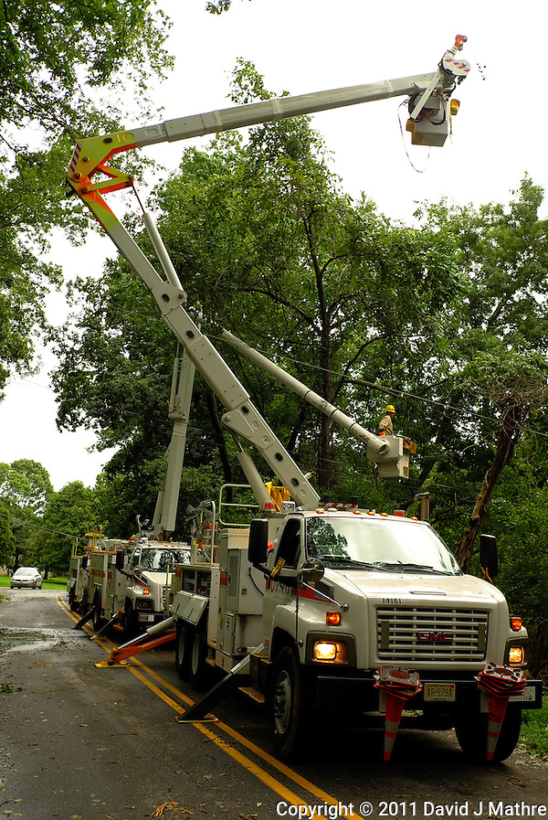 PSE&G Truck and Crew Working on the Downed Power Line. Hurricane Irene. Image taken with a Leica X1 camera. (David J Mathre)