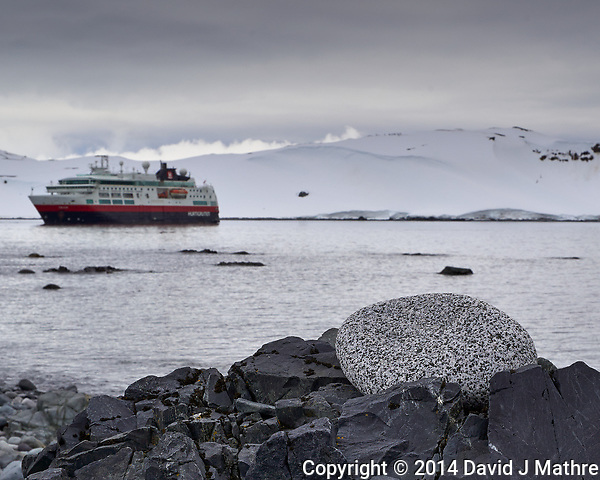 Rock Pile on the Beach on Half Moon Island with the Hurtigruten MS Fram in the Background. Image taken with a Leica T camera and 18-56 mm lens (ISO 100, 35 mm, f/16, 1/200 sec). (David J Mathre)