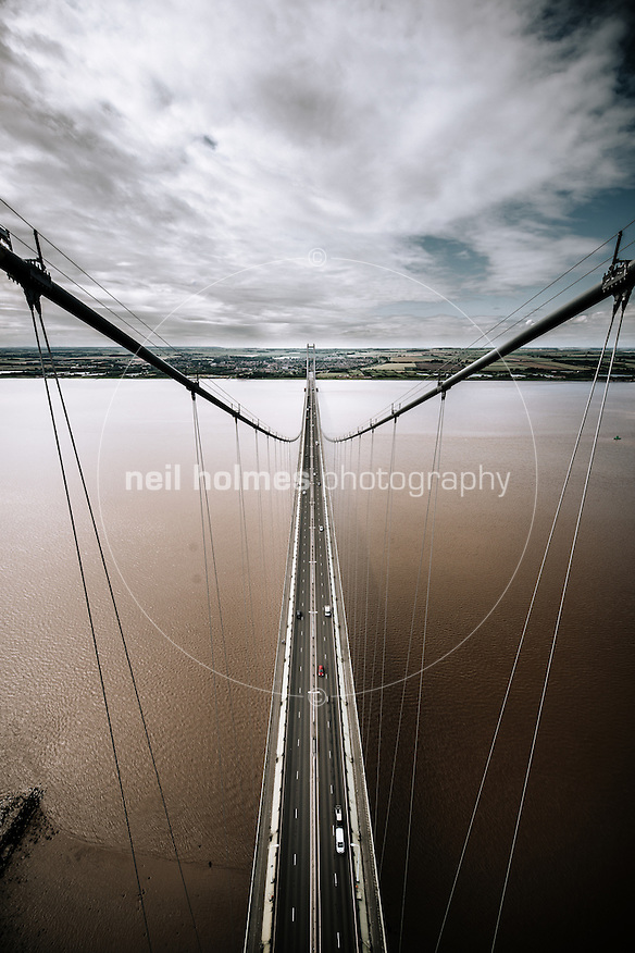 Humber Bridge, Hessle, East Yorkshire, United Kingdom, 15 July, 2015. Pictured: Views from the north tower ob the Humber Bridge (Neil Holmes)