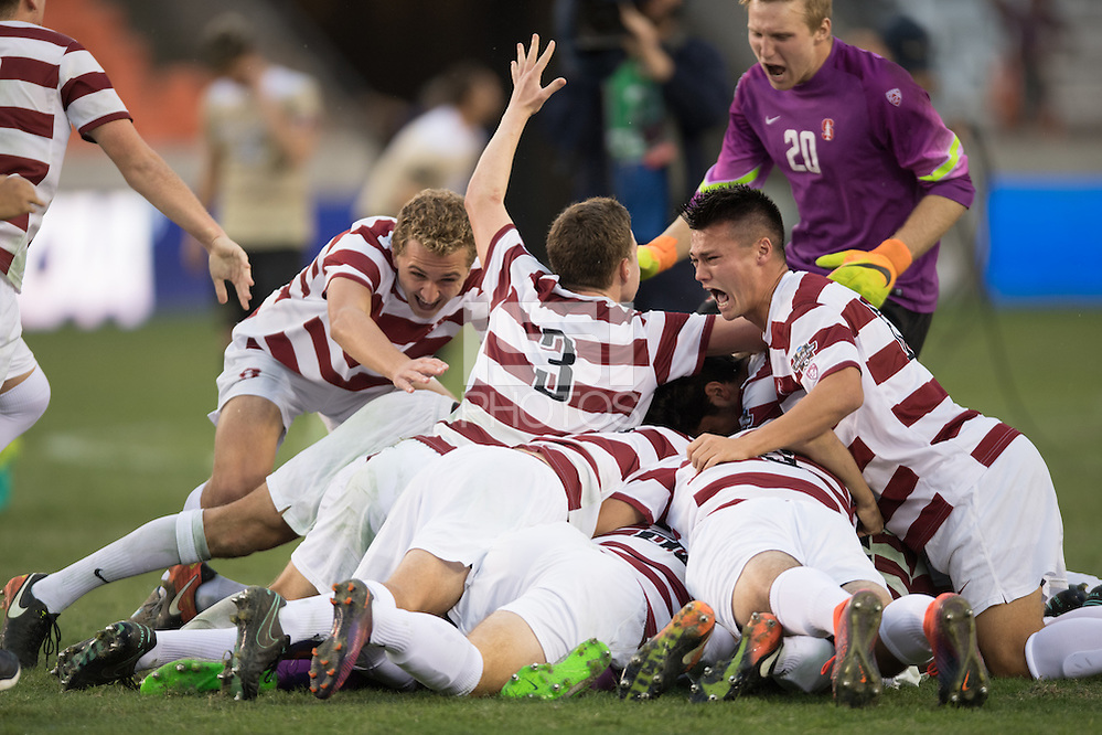 Houston, TX -  Sunday, December 11, 2016: The Stanford Cardinal celebrate winning the 2016 NCAA Division 1 Soccer Championship against the Wake Forest Demon Deacons at the  NCAA Men's Soccer Finals at BBVA Compass Stadium. (Wilf Thorne/isiphotos.com)