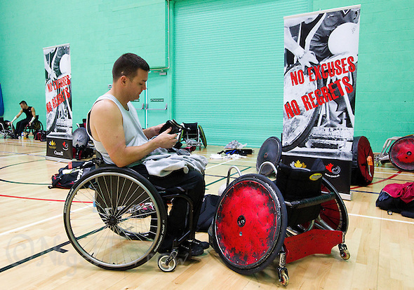 15 AUG 2011 - LEEDS, GBR - Canada's Mike Whitehead prepares for the wheelchair rugby exhibition match between Great Britain and Canada (PHOTO (C) NIGEL FARROW) (NIGEL FARROW/(C) 2011 NIGEL FARROW)