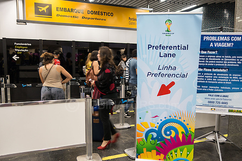 The FIFA priority lane at Rio de Janeiro International Airport. FIFA accredited individuals are allowed to fast track at checkin and security.Photo by Andrew Tobin/Tobinators Ltd (Andrew Tobin/Tobinators)