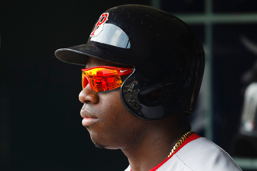 Aug 9, 2015; Detroit, MI, USA; Boston Red Sox right fielder Rusney Castillo (38) in the dugout against the Detroit Tigers at Comerica Park. Mandatory Credit: Rick Osentoski-USA TODAY Sports (Rick Osentoski/Rick Osentoski-USA TODAY Sports)