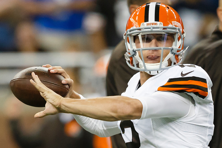 Cleveland Browns quarterback Johnny Manziel (2) warms up before a preseason NFL football game against the Detroit Lions at Ford Field in Detroit, Saturday, Aug. 9, 2014. (AP Photo/Rick Osentoski) (Rick Osentoski/AP)
