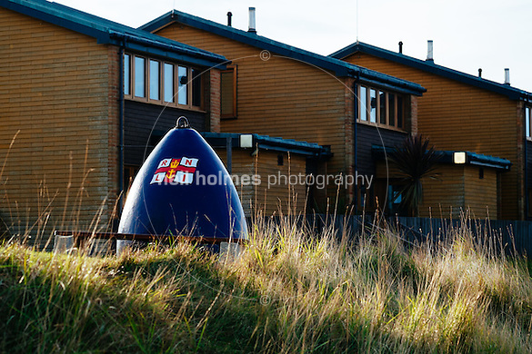 Spurn Head, Spurn, East Yorkshire, United Kingdom, 06 December, 2014. Pictured: RNLI lifeboat crew houses (Neil Holmes)