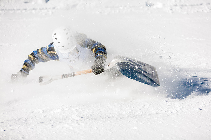 Snow shovel racing in Angel Fire New Mexico on Feb. 11, 2012. (Steven St. John)