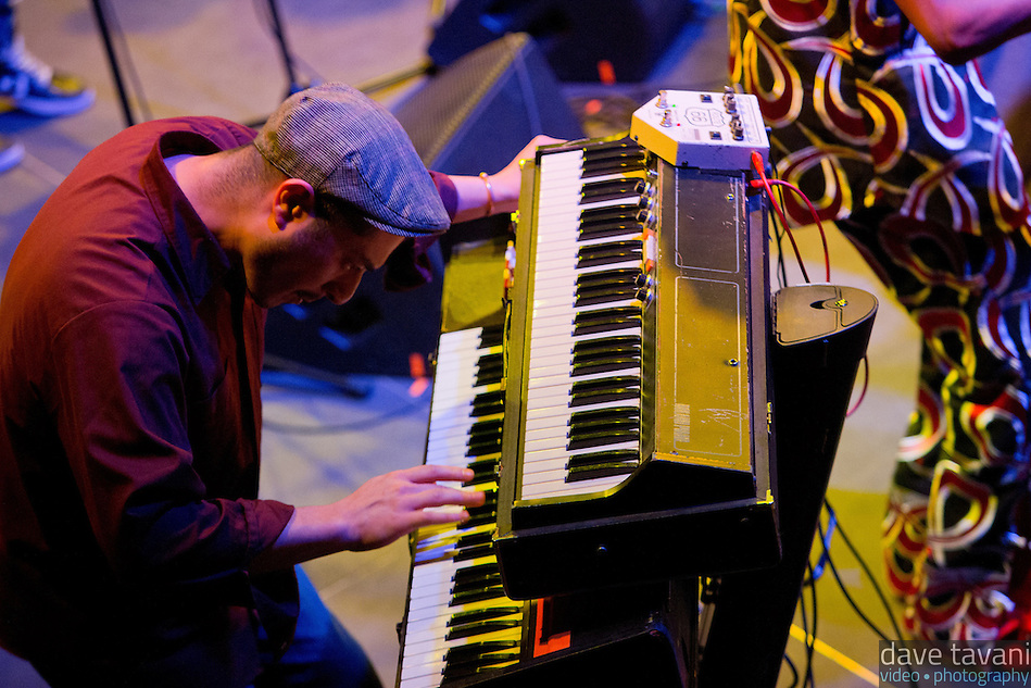 Victor Axelrod plays the keys for Antibalas at Union Transfer in Philadelphia on December 13, 2012. (Dave Tavani)