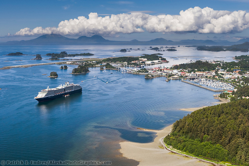 Sitka photos: Aerial view of Holland America Cruise ship anchored in Sitka sound, off the coastal community of Sitka, Alaska, on Baranoff Island in the Southeast Alaska panhandle. (Patrick J. Endres / AlaskaPhotoGraphics.com)