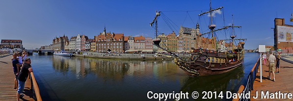 Panorama of the Pirate Galleon Ferry and the Old Town in Gadansk. In camera panorama taken with a Fuji XT1 camera and Zeiss 12 mm f/2.8 lens (ISO 200, 12 mm, f/16, 1/180 sec). JPG processed with Capture One Pro, Focus Magic, and Photoshop CC. (David J Mathre)