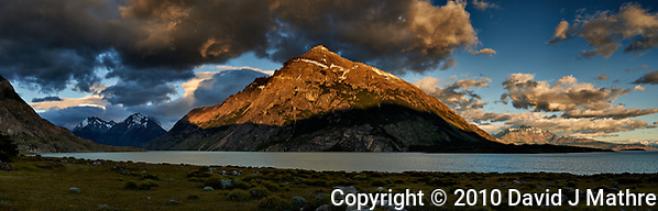 Sunrise Panorama across Lago Viedma from Estancia Helsingfors. Composite of 7 images taken with a Nikon D3x and 50 mm f/1.4G lens. (David J Mathre)