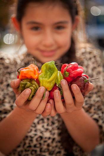 "Lourdes Hernandes supervises her father's vegetable booth at the Calistoga Saturday Market.  ""We have the best peppers, anywhere."" (© Clark James Mishler)"